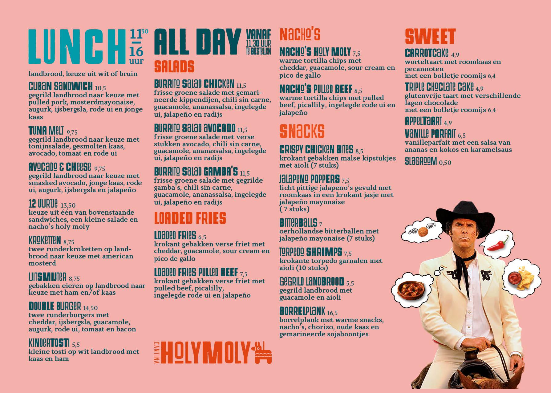Menukaart lunch Holy Moly juni 2020